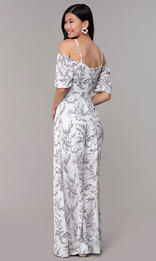 Image of white off-shoulder print maxi-length party dress. Style: FAN-AKD0006 Back Image