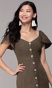 Image of olive green short casual party dress with sleeves. Style: FAN-EKD2012 Detail Image 1