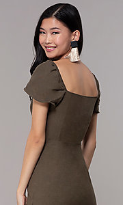 Image of olive green short casual party dress with sleeves. Style: FAN-EKD2012 Detail Image 2