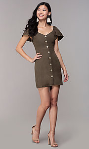 Image of olive green short casual party dress with sleeves. Style: FAN-EKD2012 Detail Image 3