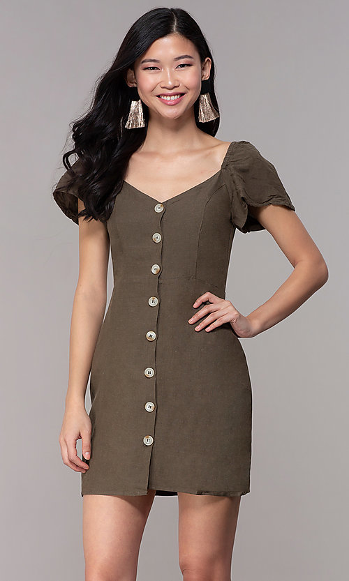Image of olive green short casual party dress with sleeves. Style: FAN-EKD2012 Front Image