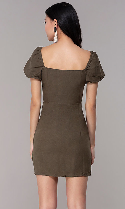 Image of olive green short casual party dress with sleeves. Style: FAN-EKD2012 Back Image