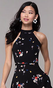 Image of floral-print short black party dress with pockets. Style: FAN-EKD2020 Detail Image 1