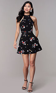 Image of floral-print short black party dress with pockets. Style: FAN-EKD2020 Detail Image 3