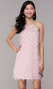 Image of short shift graduation party dress in mauve pink. Style: FAN-EKD2133M Front Image