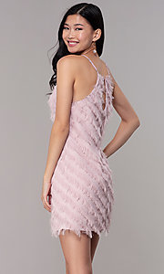 Image of short shift graduation party dress in mauve pink. Style: FAN-EKD2133M Back Image
