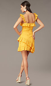 Image of eyelet-lace ruffle-trimmed short party dress. Style: FAN-AKD0094Y Back Image