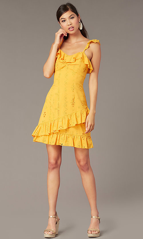 Image of eyelet-lace ruffle-trimmed short party dress. Style: FAN-AKD0094Y Front Image