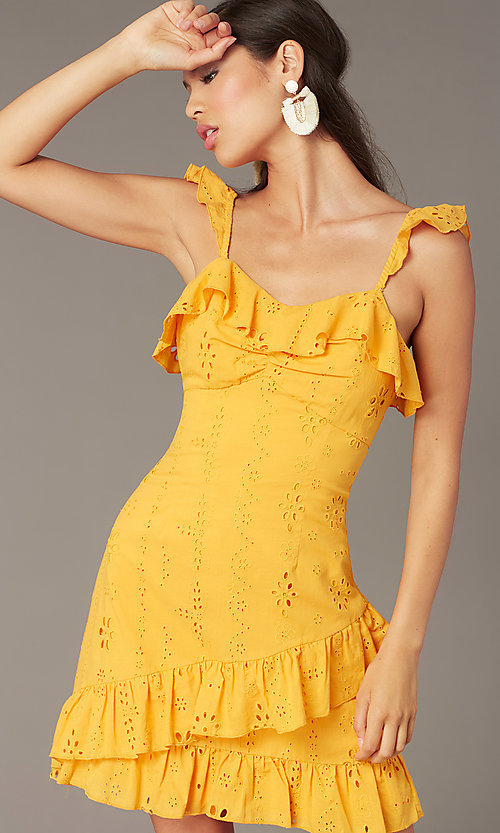 Image of eyelet-lace ruffle-trimmed short party dress. Style: FAN-AKD0094Y Detail Image 1