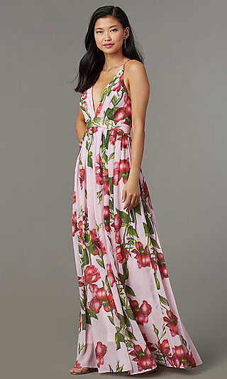 Floral Print Maxi Length Wedding Guest Dress