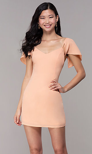 Wedding Guest Caped Sleeve Party Dress