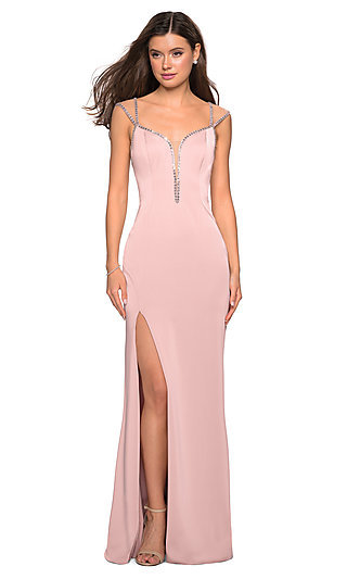 Long La Femme Formal Gown with a Sheer Back