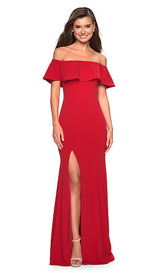 Off-the-Shoulder La Femme Formal Gown with Ruffles