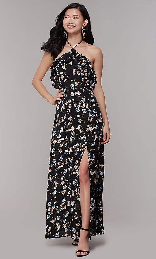 Image of long print wedding-guest dress with ruffles. Style: RO-R68001 Detail Image 3