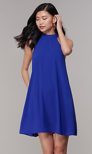 High-Neck Shift Party Dress with Side Pockets