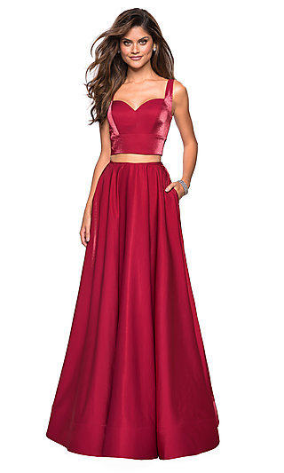 La Femme A-Line Satin Formal Gown with Pockets