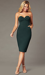 Image of strapless sweetheart short cocktail party dress. Style: CT-7711BK4AT3 Front Image