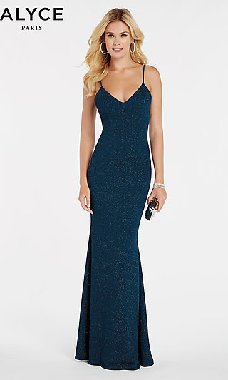 Glitter Jersey Formal Gown with Spaghetti Straps