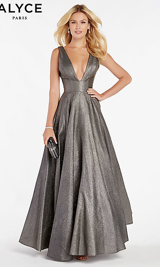 Long Deep V-Neck Metallic Formal Gown with Pockets