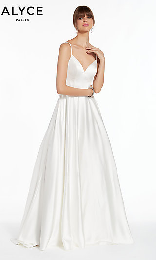 Long A-Line Open-Back White Alyce Formal Gown