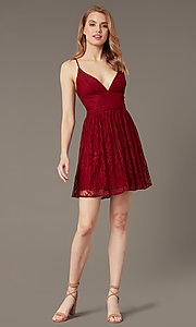 Image of open-back short lace party dress with corset. Style: MT-1001-2 Front Image