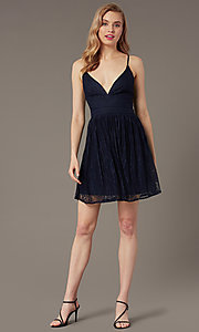 Image of open-back short lace party dress with corset. Style: MT-1001-2 Detail Image 2