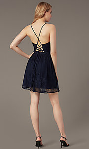 Image of open-back short lace party dress with corset. Style: MT-1001-2 Detail Image 3
