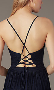 Image of open-back short lace party dress with corset. Style: MT-1001-2 Detail Image 4