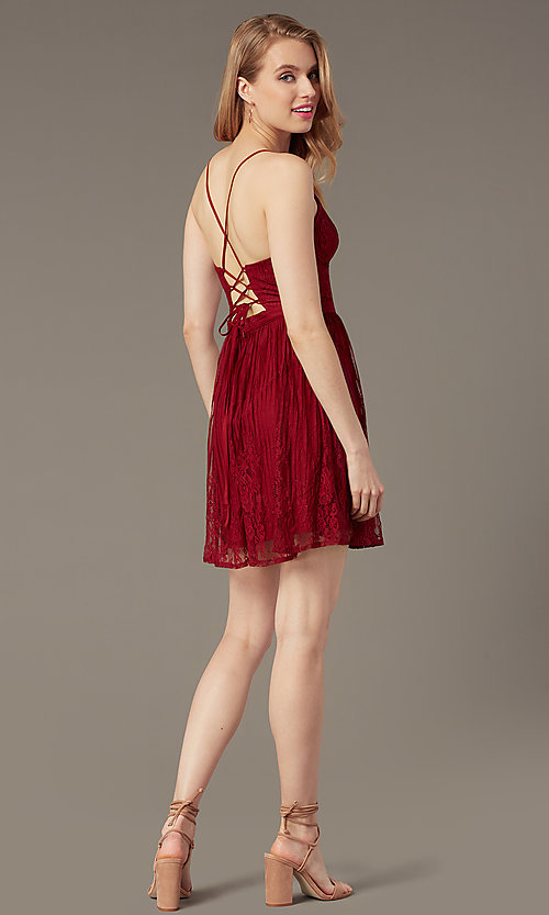 Image of open-back short lace party dress with corset. Style: MT-1001-2 Back Image