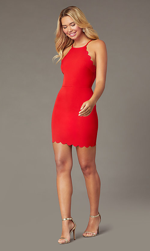 Image of high-neck short formal red dress with scallops. Style: MT-1087 Detail Image 1