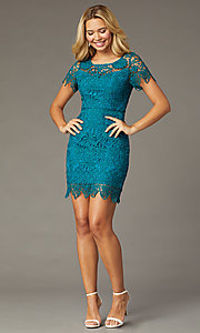 Image of teal short-sleeve short lace party dress. Style: MT-1077 Detail Image 1