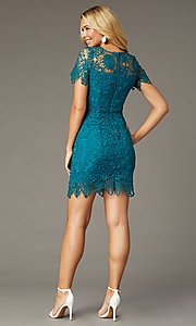 Image of teal short-sleeve short lace party dress. Style: MT-1077 Back Image