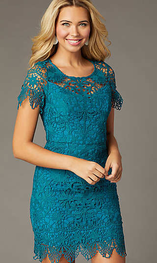 Teal Short-Sleeve Short Lace Party Dress