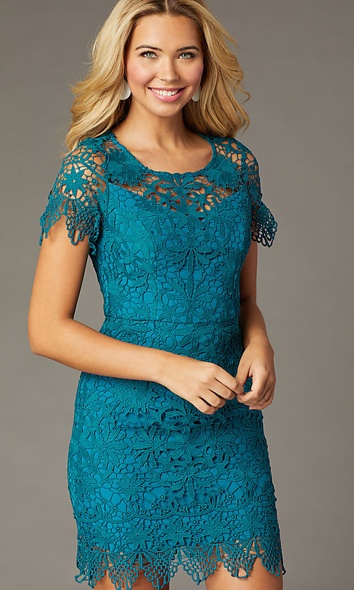 Image of teal short-sleeve short lace party dress. Style: MT-1077 Front Image