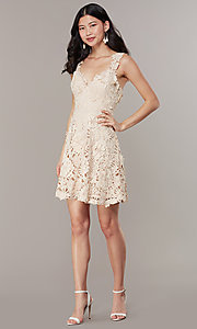 Image of short taupe a-line party dress in embroidered lace. Style: JTM-JMD10396 Detail Image 2