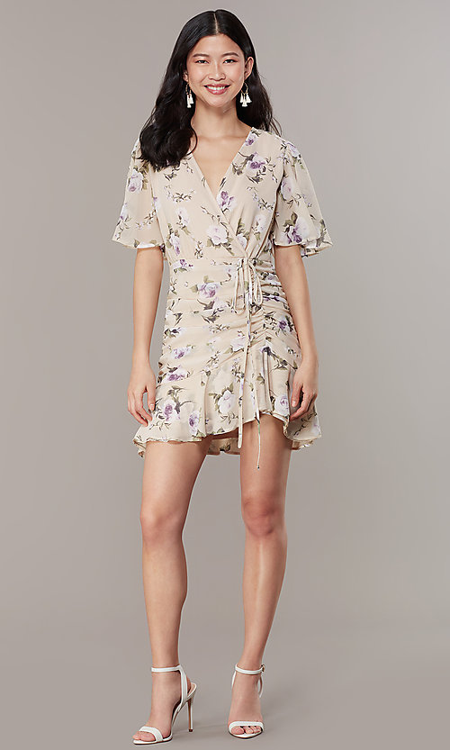 d373ab020f16 Wedding Guest Short Ruched Floral Print Dress