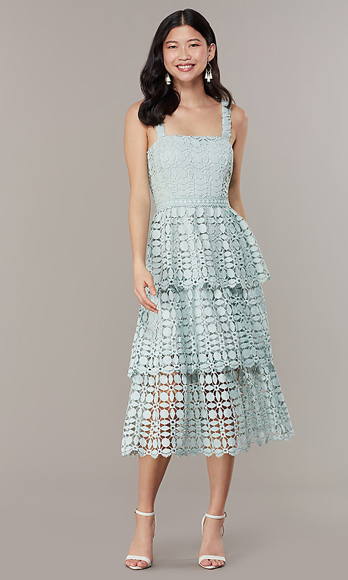 Image of sage green tiered-lace midi wedding-guest dress. Style: JTM-JMD10613 Detail Image 2