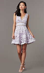 Image of short wedding-guest lace party dress in lavender. Style: JTM-JMD10249 Front Image