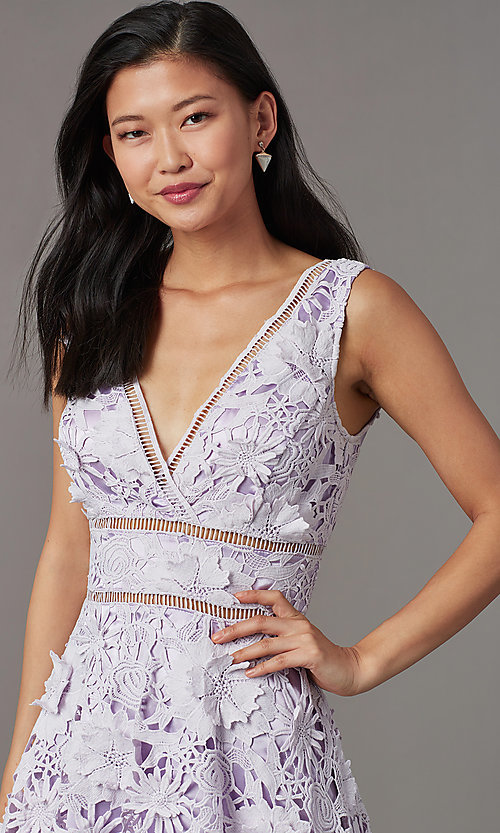 Image of short wedding-guest lace party dress in lavender. Style: JTM-JMD10249 Detail Image 1