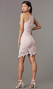 Image of short embroidered-lace wedding-guest party dress. Style: JTM-JMD10348 Back Image