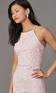 Image of short embroidered-lace wedding-guest party dress. Style: JTM-JMD10348 Detail Image 2