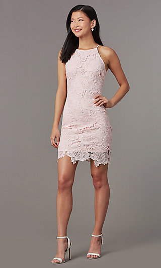 Wedding Guest Short Sheath Embroidered Lace Dress