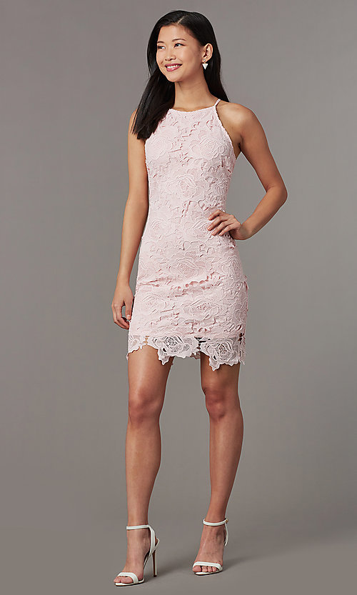 Image of short embroidered-lace wedding-guest party dress. Style: JTM-JMD10348 Front Image