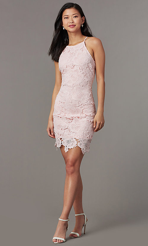 Image of short embroidered-lace wedding-guest party dress. Style: JTM-JMD10348 Detail Image 1