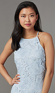 Image of short lace party dress for wedding guests. Style: JTM-JMD10348-H Detail Image 1