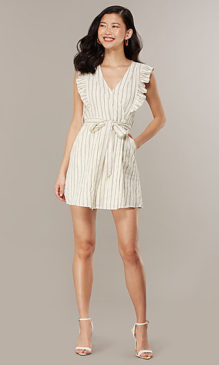 Short Casual Striped Dress with Ruffles