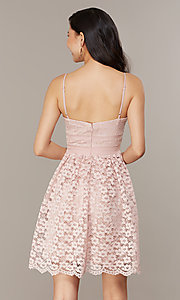 Image of short floral-lace party dress in blush pink. Style: CHE-D16042CWF Back Image