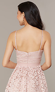 Image of short floral-lace party dress in blush pink. Style: CHE-D16042CWF Detail Image 2