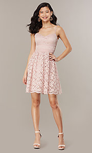 Image of short floral-lace party dress in blush pink. Style: CHE-D16042CWF Detail Image 3