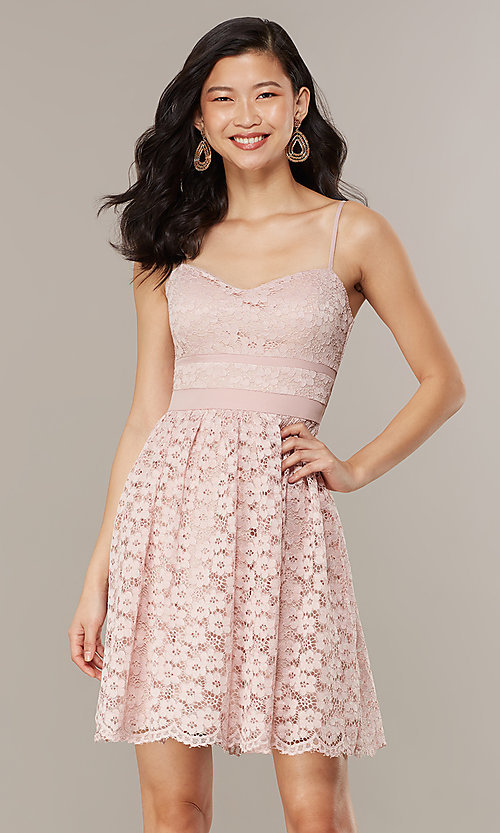 Image of short floral-lace party dress in blush pink. Style: CHE-D16042CWF Front Image
